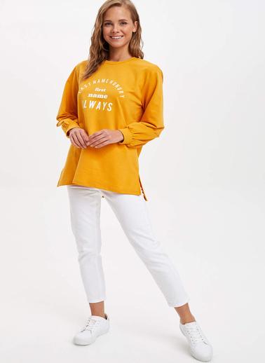 DeFacto Slogan Detaylı Tunik Sarı